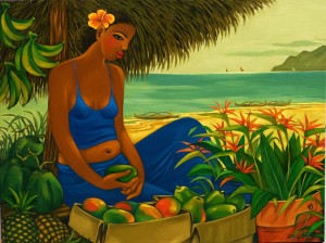 lady with fruit by the beach in hawaii
